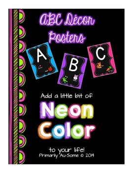 Neon Alphabet Line Poster (Upper and Lowercase) with Bonus 1-10 Number Posters