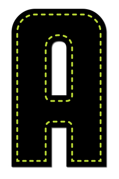 Neon Alphabet in Stitches - Digital Stamp - Black and Neon Colors - Clip Art