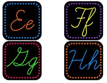 Neon Alphabet on Black - Dashes, Cursive