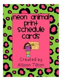 Neon Animal Print Schedule Cards