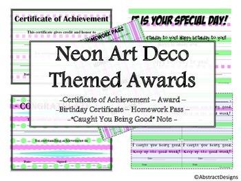 Neon Art Deco Awards Set