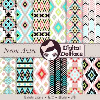 Neon Aztec Digital Paper Patterns, Trendy Backgrounds
