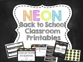 Neon Back to School Classroom Printables
