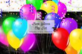 Neon Balloons Clipart