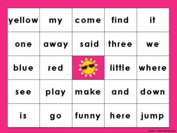 Pre Primer Sight Word Bingo