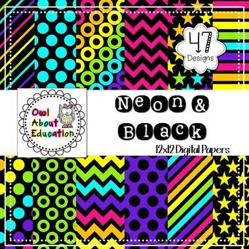 Neon & Black - Digital Paper Pack