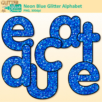 Neon Blue Alphabet Clip Art {Glitter Letters for Classroom Decor & Resources}