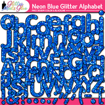 Neon Blue Alphabet Clip Art {Glitter Letters for Classroom