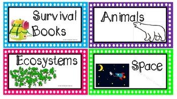 Neon Book Bin Labels
