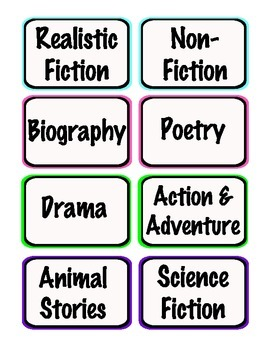 Neon Book Bin Labels for Your Classroom Library - Including Blank Labels