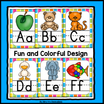 Neon Bright Alphabet Posters with Pictures
