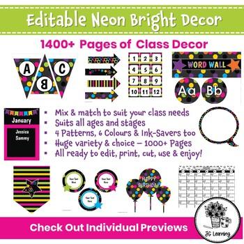 Neon Bright Classroom Decor Bundle | Neon Theme Editable Templates | Class Decor