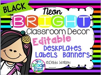 Neon with BLACK Bright Editable Labels, Desk Plates, Banne