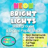 Neon Bright Lights Rainbow Background Border Frame | Digital Paper | (Boarder)