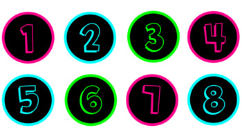 Neon Bright Number Labels: Numbers 1 - 50