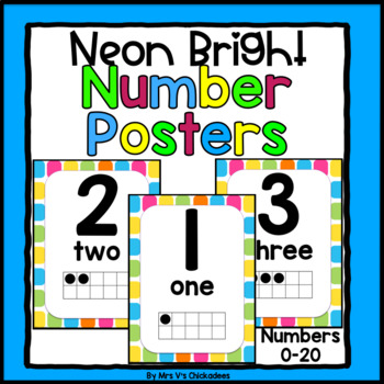 Neon Bright Number Posters for 0-20