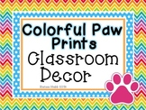 Neon Bright Paw Prints Classroom Basics Decor