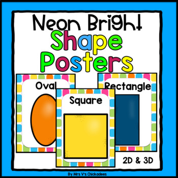 Neon Bright Shape Posters: 2D & 3D Shapes