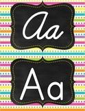 Neon Bright multicolor rainbow dots stripes manuscript print/ cursive alphabet