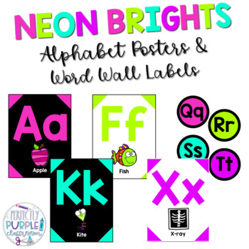 Neon Brights Alphabet Posters