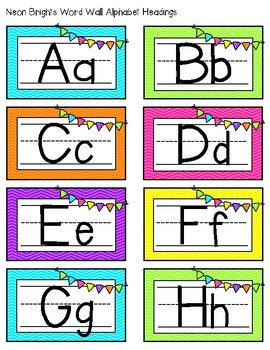 Neon Brights Alphabet Word Wall Headings