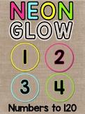 Neon Brights & Burlap Number Tiles 1-120 Classroom Decor