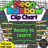 Neon Rainbow Chalkboard Behavior Clip Chart
