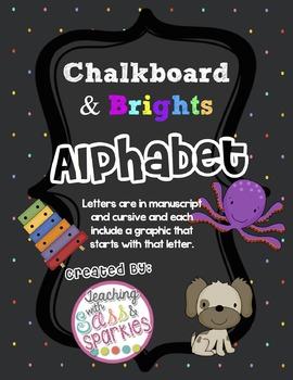 Neon Brights Chalkboard Manuscript and Cursive Alphabet Posters