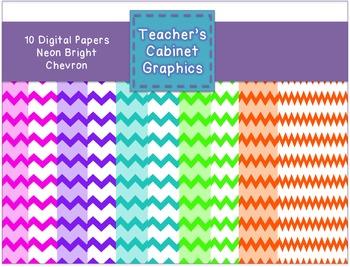 Neon Brights Chevron {Teacher's Cabinet Graphics}