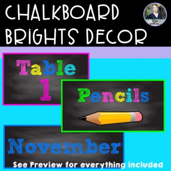 Chalkboard Brights Classroom Signs And Labels Teaching Resources