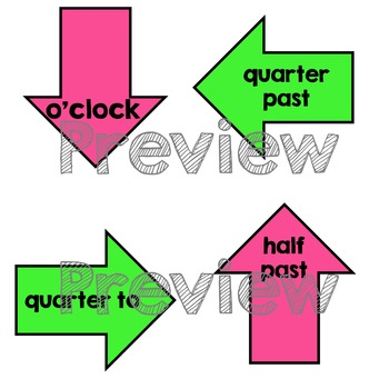 Clock Labels - Classroom Decor - Neon Brights