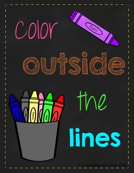 Poster - Classroom Decor - Neon Brights - Color Outside the Lines