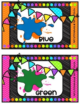 Neon Brights Color Word Posters