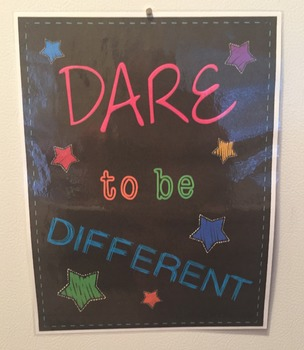 Poster - Classroom Decor - Neon Brights - Dare To Be Different