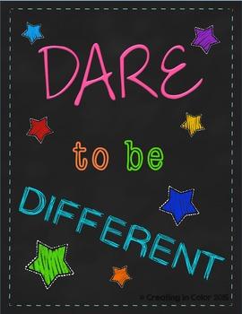 Poster - Classroom Decor - Neon Brights - Dare To Be Different
