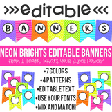 Neon Brights Editable Banners