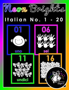 Neon Brights | Italian Numbers 1 - 20