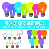 Neon Brights Lightbulbs Clipart