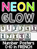 Neon Brights Number Posters 0-10 in FRENCH