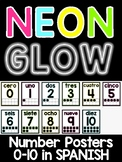 Neon Brights Number Posters 0-10 in SPANISH