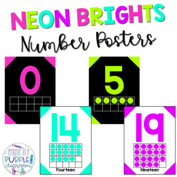 Neon Brights Number Posters