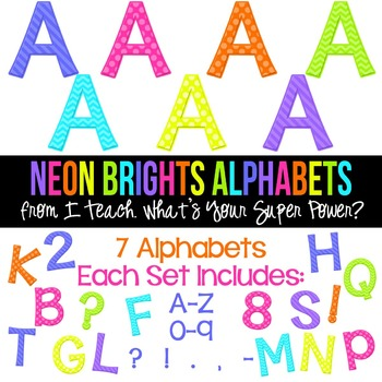 Neon Brights Set of 7 Alphas