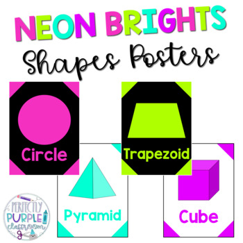 Neon Brights Shape Posters