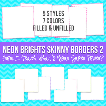 Neon Brights Square Skinny Borders