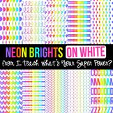 Neon Brights on White Digital Paper Set