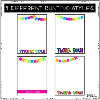 Neon Bunting Thank You Cards for Teachers