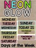 Neon & Burlap Days of the Week Calendar Labels Classroom Decor