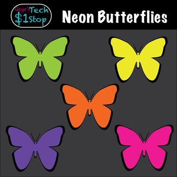 Neon Butterfly Clipart * Summer * Spring * Bugs * Insects