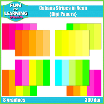 Neon Cabana Striped Digi Papers