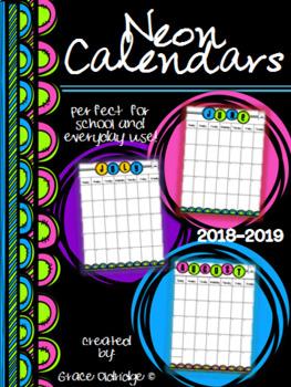 Neon Calendars 2017-2018